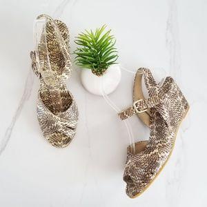 Stuart Weitzman Wedge Sandals Snake Skin Print